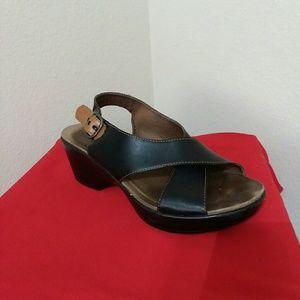 DANSKO Black Leather Wedge Heels